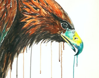 "Original mixed media painting bird,dripping""Golden eagle"""
