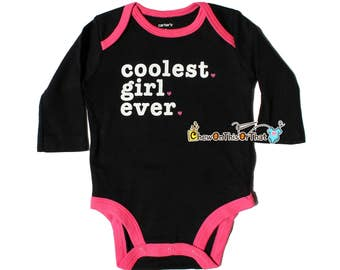 Black and Pink Coolest Girl Ever Personalized Statement Onesie, Baby Girl Bodysuits, Newborn Top, Personalized Shirt, Baby Shower Gift