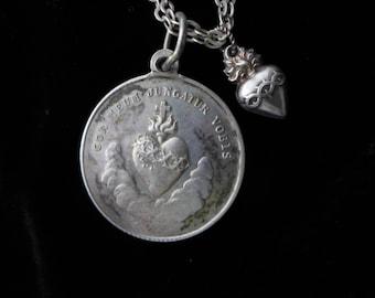 Antique Sacred Heart Virgin Mary Holy Medal