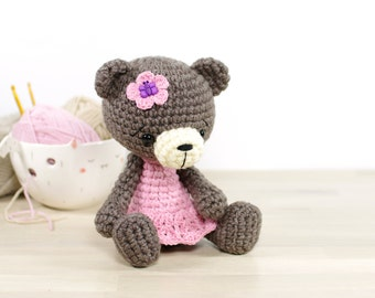 SALE -30% | Crocheted teddy bear in a dress