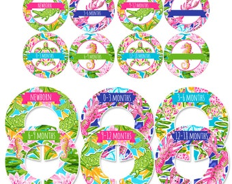 Storage Labels and Clothing Dividers Gift Set for Baby Girls with Tropical Prints - CDBS002