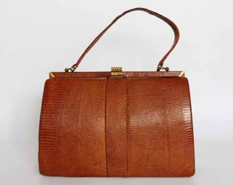 Authentic vintage 1950s handbag, classic bag, Kelly bag, Made in England, real lizard leather
