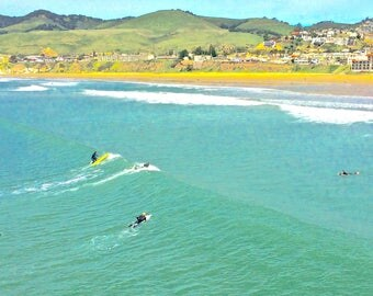 Classic California beach photo card, Old Style postcard art, classic beach scene, Old School style photo, Pismo Beach card,blank photo card