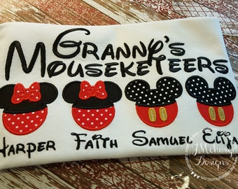 Gorgeous Custom embroidered Disney Mousketeers Shirts for the Family! 847 white