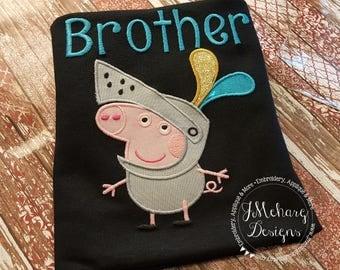 Peppa Knight George Birthday Custom Tee Shirt - Customizable -  Infant to Youth 193 black