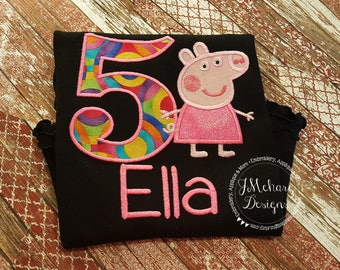 Peppa Pig Birthday  - Embroidered Birthday Shirt - Customizable -  Infant to Youth 105 pink