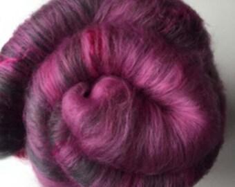 Carded Fibre Batt for Spinning and Felting/Art Batt/Spinning Fibre Pinks and Grey with Wensleydale Locks
