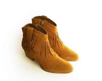 Mustard suede boots sale, Mustard low Heel Boots, Boho boots, Low Heels  Booties, Tassel boots, Womens boots, Ankle zip boots, Boho Booties