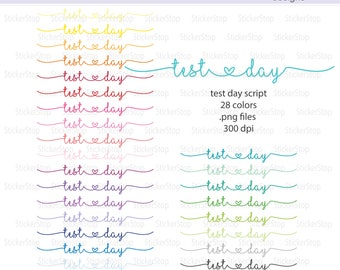 Test Day Script Icon Digital Clipart in Rainbow Colors - Instant download PNG files