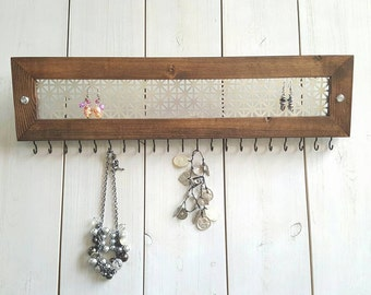 Jewelry Organizer, Wood Modern Jewelry Rack, Jewelry Display, Necklace Holder, Wooden Display, Necklace Organizer, Jewelry Sorter