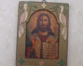 SUMMER SALE Antique Religious Picture, Jesus Christ, Bronze Icon, Solid Bronze and Enamel Frame, Altar, Shrine, Catholic, Orthodox