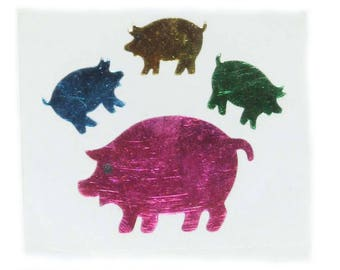 Vintage 80's Blue Yellow Green Pink Mama Pig and Baby Piglets Metallic Foil Stickers