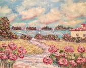 Abstract Wild Pink Poppies Seascape, Original Oil Painting + 30x34 Gilt Frame