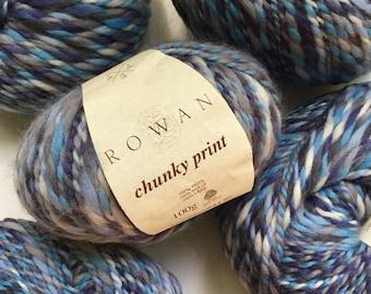 40% Off Rowan Chunky Print Wool Yarn Blue Grey Super Bulky 110 Yards