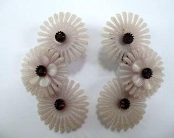 Vintage Soft Plastic Lavender Flower Clip Earrings Rhinestone Large 50's 60's