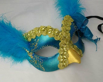 Peacock mask, masquerade masks, bird mask, costume masks, UK, masked ball masks, blue and gold, theatrical mask, OOAK, unique party masks