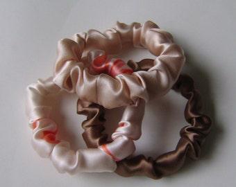 Silk Hair Scrunchies, 3 for 18.00