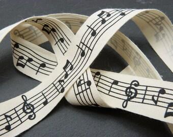 Music Pattern Print 100 Percent Cotton Rustic Ribbon 20mm Wide Per Metre ---1---