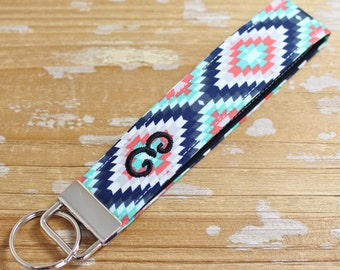 Personalized Aztec/Tribal Key Fob in Wristlet or Mini Length - Initial Key Chain - Embroidered