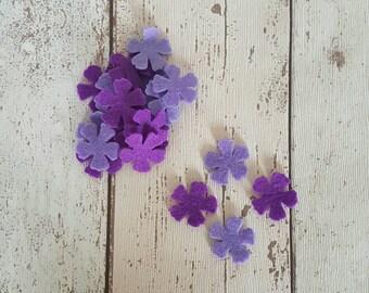 Lilac felt flowers, Purple felt flowers, die cut felt, felt flowers, table confetti, wedding table, wedding, wedding confetti, lilac flower