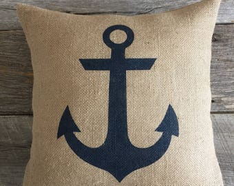 Burlap Pillow,  ANCHOR,  Nautical Theme,  Navy Anchor pillow, Anchor Pillow, Burlap Anchor pillow,  Home Decor,  Beach Theme,  Summer Decor
