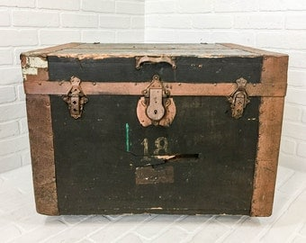 Antique Steamer Trunk Square Chest No 18 Coffee Table Shipping Container Packing Crate
