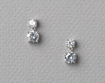 CZ Wedding Earrings, CZ Bridal Earrings, Cubic Zirconia Drop Earrings, Cubic Zirconia Earrings, Earrings for Bride, Bride Earrings ~JE-4068