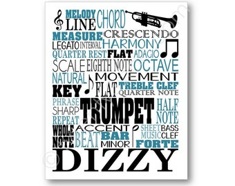 Trumpet Typography Art Print, Music Notes and Terms, Great gift for any Trumpet Player, Music Room