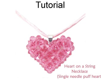 Beading Tutorial Pattern - Beaded Crystal Puff Heart Pendant Necklace - Valentine Necklace - Simple Bead Patterns - Heart on a String #24321