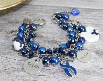 Stainless Steel Colon Cancer Bracelet | Colon Cancer Awareness Bracelet | Blue Awareness Bracelet | Colon Cancer Jewelry | Survivor Jewelry
