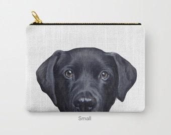 Labrador black Pouch original Dog illustration design, print on both sides, carry pouch