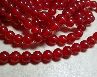 """1-16"""" Strand Ruby Red Holiday Red Jade Smooth 10MM Round (40 Beads)"""