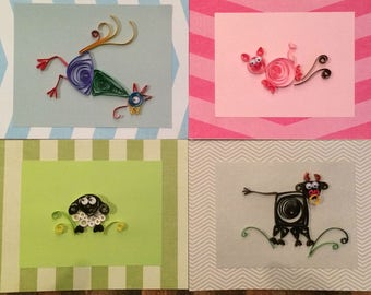 Quilled Farm Animal Cards