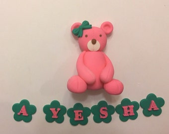 Any color Teddy Bear Fondant cake topper- free flowers with name