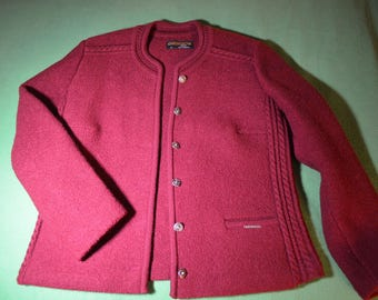 Pure Wool Jacket in a Cranberry Color by GEIGER made in Austria