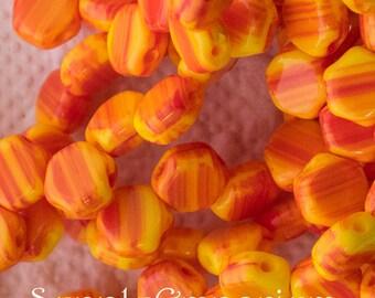 Hodge Podge Orange 6mm Czech Glass Honeycomb Beads, 4205, 6mm Honeycomb Hodge Podge Orange, 30 Beads
