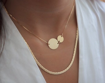 Gold Disc Necklace Delicate Circle Necklace Large Disk Everyday Layering Necklace  Pendant Gold Filled or Silver Jewelry.