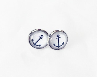 Stainless steel, black anchor on white background, earrings 12 mm on shank, made to the Quebec City Canada, delicate, nautical, simple and chic, sailor