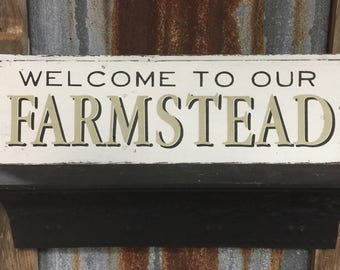 Welcome to our Farmstead Hand Painted Shiplap sign