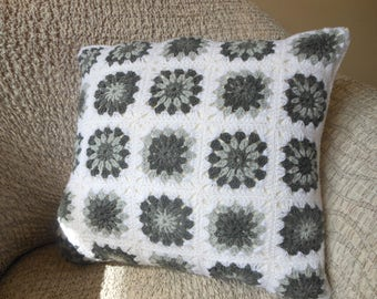 Crochet Pillow, Granny Square Cover Pillow, Decorative Pillow, White and Grey Handmade Home Decor 18x18