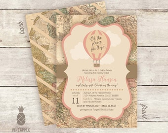 "Vintage Inspired ""Oh the places she'll go!"" Hot Air Balloon Adventure Baby Shower Invitations"