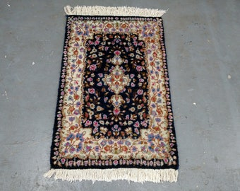 1970s Vintage, Hand-Knotted, Kerman Persian Rug (2802)