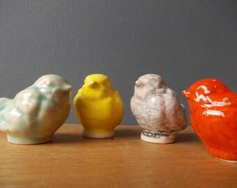 Miniature BIRD / Ceramic SPARROW / Small Bird / Love Bird / Gift / Shelf sitter