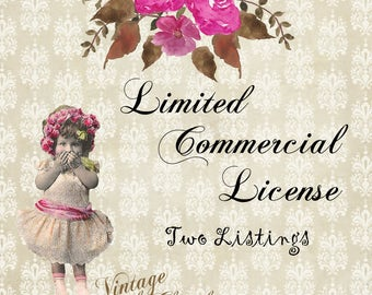 Commercial Use License: For 2 Design Use -  (add-on- has to be purchased with the artwork)
