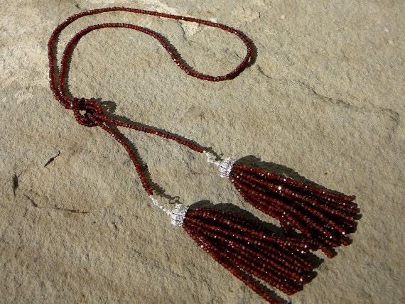 Lariat Tassel Necklace, Tassel Necklace, Tassel Jewelry, Gemstone Necklace, Mozambique Garnet, Garnet Necklace, Garnet Jewelry, Gemstones