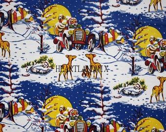 Vintage Retro Holiday Christmas Santas Ride Wrapping Paper Wallpaper Digital Image Download Printable