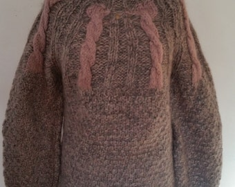 1980's Mohair Sweater 80's Oversize Slouchy Mauve/Heather Gray Cable Knit Sweater Extra Large Turtleneck Pullover Size Medium Made in Italy