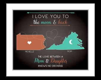 Gift for mother, long distance, gift for mom, unique present for moms, grandma, daughter, mothers day vintage, custom maps art print
