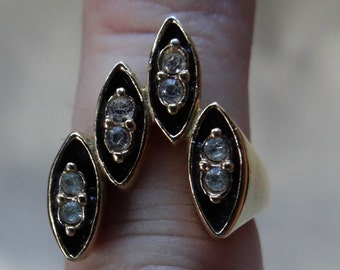 Dramatic Multi-stone Statement/Cocktail Ring in Black Enamel and 18KT H.G.E. Abstract Setting, Women's size 7.5