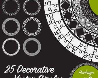 25 Decorative Circles, Vector Art (Package 3)